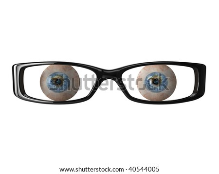 High quality illustration of detailed eyeballs behind a pair of glasses