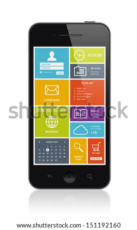 High quality illustration of mobile smartphone with stylish modern colorful user interface on a screen. Isolated on white background.