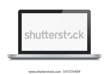 High quality illustration of modern metallic laptop with blank screen. Front view. Isolated on white background.