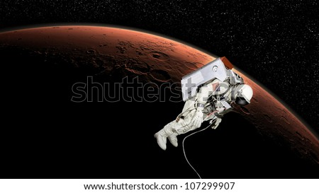 High quality isolated composite astronaut in space near mars gale crater of real NASA images