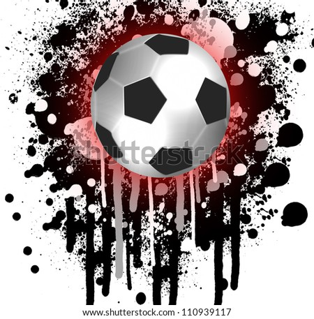 high quality isolated soccer ball and grunge background