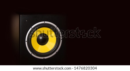 High quality loudspeaker close on dark background.Hifi sound system for sound recording studio.Professional hi-fi cabinet speaker box on sale.Audio equipment for record studios and concert stage #1476820304