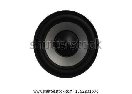 High quality loudspeakers.Hi fi sound system in shop for sound recording studio.Professional hi-fi cabinet speaker box.Audio equipment for record studios.Subwoofer with speakers. #1362231698