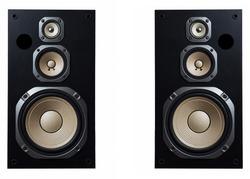 High quality loudspeakers.Hifi sound system in shop for sound recording studio.Professional hi-fi cabinet speaker box.Audio equipment for record studios.Buy dj equip in music store