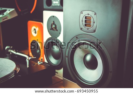 High quality loudspeakers.Hifi sound system in shop for sound recording studio.Professional hi-fi cabinet speaker box.Audio equipment for audio record studios.Buy dj equip in store #693450955