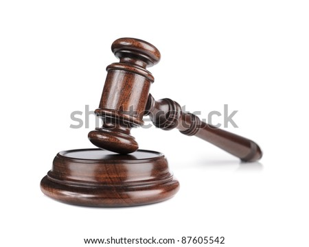 High quality mahogany wooden gavel with a sound block.