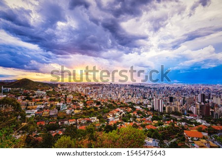 High Quality Panorama Cityscape of a Colourful Sunset Sky over Belo Horizonte, Minas Gerais State, Brazil (Location: Mangabeiras Viewpoint)