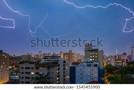 High Quality Panorama Cityscape of Lightning Storm Over Belo Horizonte, Minas Gerais State, Brazil
