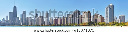 High quality panoramic picture of Chicago waterfront skyline, Illinois, USA.