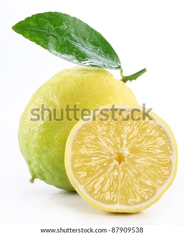 High-quality photo ripe lemon on a white background