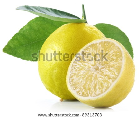 High-quality photo ripe lemon on a white background - stock photo