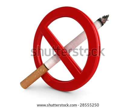 High quality, realistic 3d illustration of a 'No Smoking' sign.