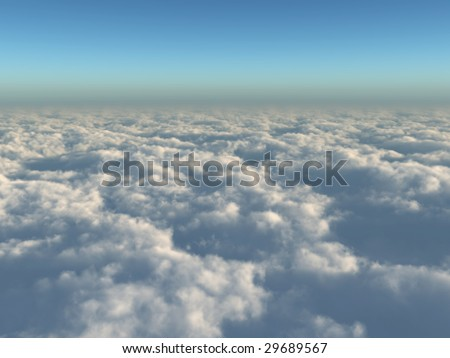 High quality, realistic illustration of a far reaching view above the clouds