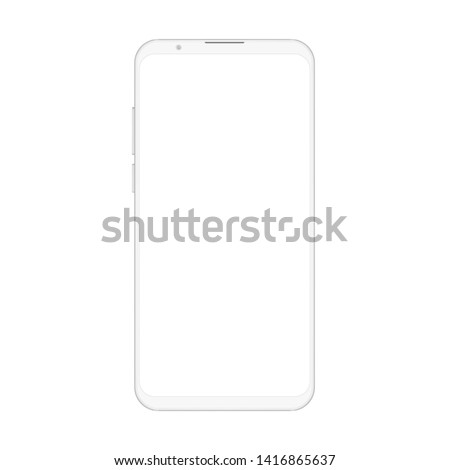 High quality realistic trendy soft clean no frame white smartphone with blank white screen.  Mockup phone for visual ui app demonstration.