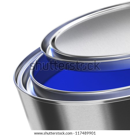 High quality render a half opened paint can filled with blue paint. Close-up and angle view. Clipping path included. Isolated on white. Find more paint renders on my profile.