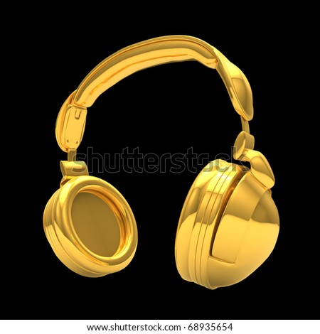High Quality Render of Gold Headphone isolated  on black