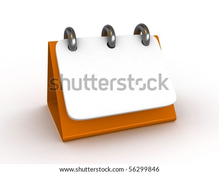 High Res. 3D Blank Desktop Calendar isolated