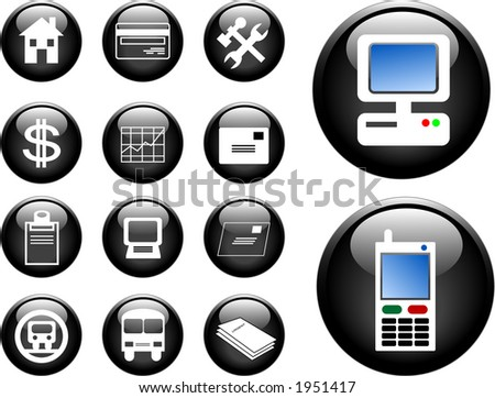 High res 3D buttons of communication, transportation, property and finance. Vector version in my portfolio.