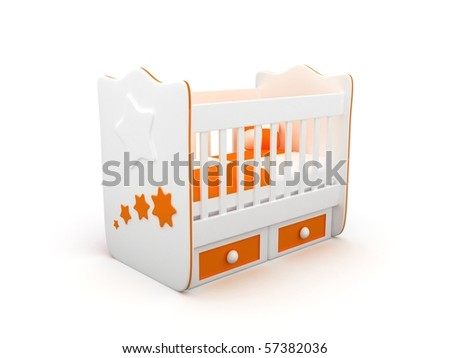 High res. 3d white crib with toys-for baby isolated