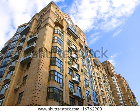 high residential building on a blue background