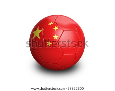 High resolution and highly detailed 3D rendering of a chinese soccerball. With clipping path removes the soft shadow. This country qualified for the 2010 soccer world cup in South Africa.