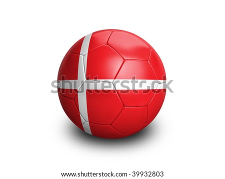 High resolution and highly detailed 3D rendering of a denmarkish soccerball. With clipping path removes the soft shadow. This country qualified for the 2010 soccer world cup in South Africa.
