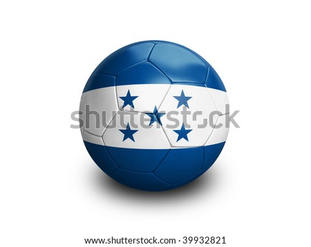 High resolution and highly detailed 3D rendering of a hondurian soccerball. With clipping path removes the soft shadow. This country qualified for the 2010 soccer world cup in South Africa.