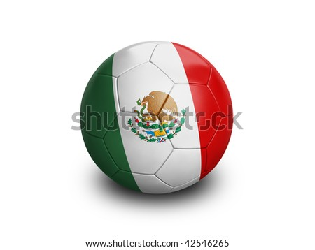 High resolution and highly detailed 3D rendering of a mexican soccer ball. With clipping path removes the soft shadow. This country qualified for the 2010 soccer world cup in South Africa.