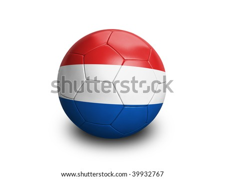 High resolution and highly detailed 3D rendering of a netherlands soccerball. With clipping path removes the soft shadow. This country qualified for the 2010 soccer world cup in South Africa. - stock photo