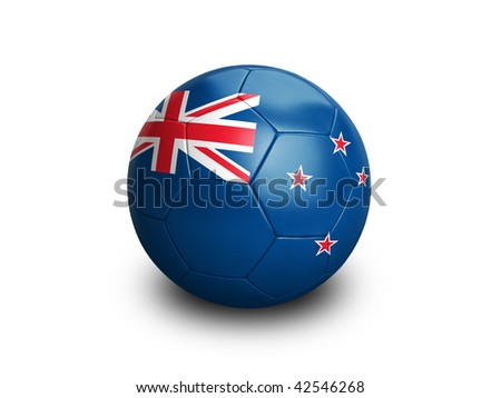 High resolution and highly detailed 3D rendering of a new zealand soccer ball. With clipping path removes the soft shadow. This country qualified for the 2010 soccer world cup in South Africa.