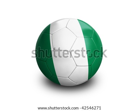High resolution and highly detailed 3D rendering of a nigerian soccer ball. With clipping path removes the soft shadow. This country qualified for the 2010 soccer world cup in South Africa.