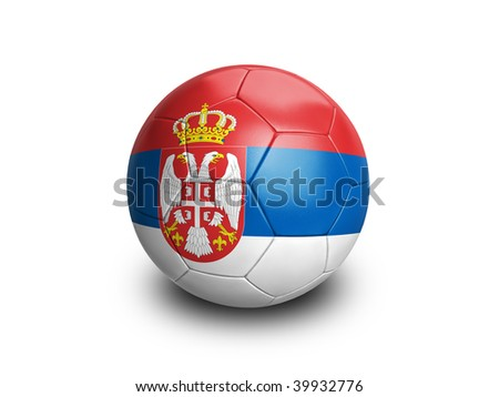 High resolution and highly detailed 3D rendering of a serbian soccerball. With clipping path removes the soft shadow. This country qualified for the 2010 soccer world cup in South Africa.