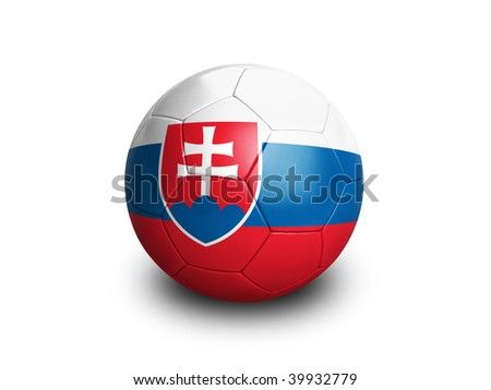 High resolution and highly detailed 3D rendering of a slovakian soccerball. With clipping path removes the soft shadow. This country qualified for the 2010 soccer world cup in South Africa.