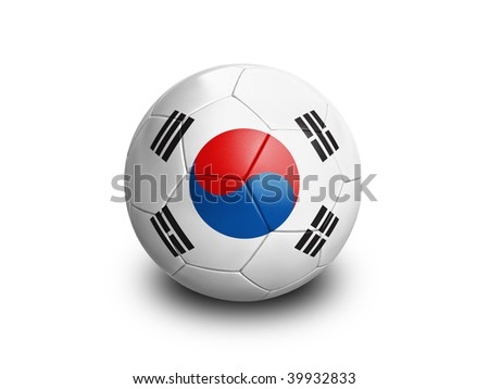 High resolution and highly detailed 3D rendering of a south korean soccerball. With clipping path removes the soft shadow. This country qualified for the 2010 soccer world cup in South Africa.