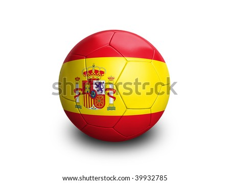 High resolution and highly detailed 3D rendering of a spanish soccerball. With clipping path removes the soft shadow. This country qualified for the 2010 soccer world cup in South Africa.