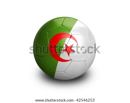 High resolution and highly detailed 3D rendering of an algerian soccer ball. With clipping path removes the soft shadow. This country qualified for the 2010 soccer world cup in South Africa.