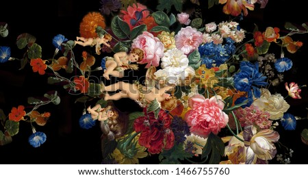 High Resolution, Angels, Roses, Flowers and Birds. Renaissance art. Cupid and Happy Valentines Day. Paradise garden. Template for clothes, t-shirt, digital and textile print design - illustration Foto stock ©