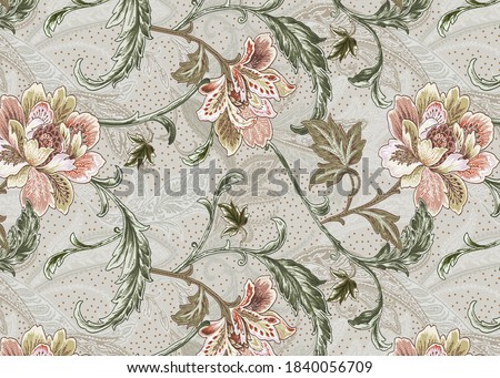 High Resolution Antique Baroque Ornament Repeat Design, Abstract Colorful Print Design, Paisley, Leaves and flowers for textile and digital print design - Illustration