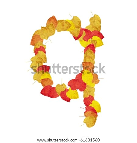 High resolution autumn leaf font isolated on white background