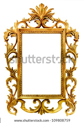 high resolution baroque style frame cutout on white isolated with working path, gold