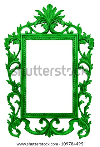 high resolution baroque style frame cutout on white isolated with working path, green