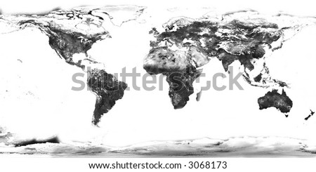 high resolution black and white world map with continents isolated