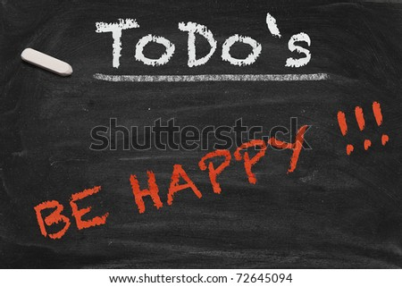 High resolution black chalkboard image with happiness as only thing on to do list. Conceptual illustration to focus on really important things.