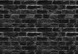 High resolution black seamless brick wall texture pattern background. Seamless worn style burned style brick wall background. Black grey brick wall pattern worn texture. Worn style seamless brick wall