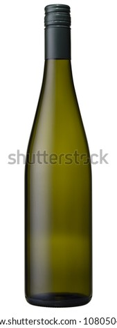 High resolution blank green glass wine bottle isolated