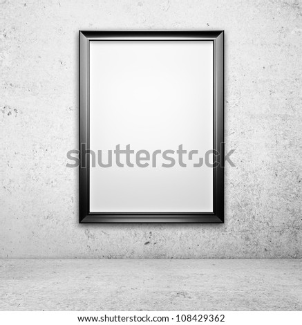 High resolution  blank picture on a concrete wall