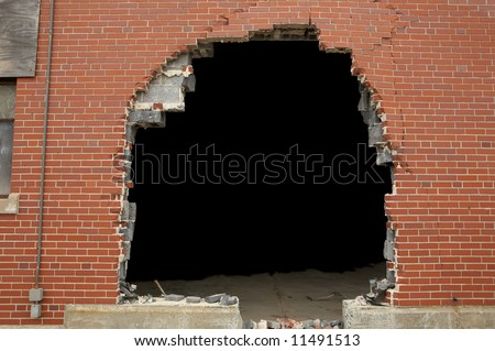 High resolution broken brick wall background