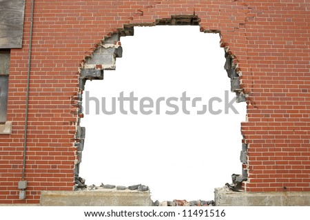 High resolution broken brick wall background with copyspace