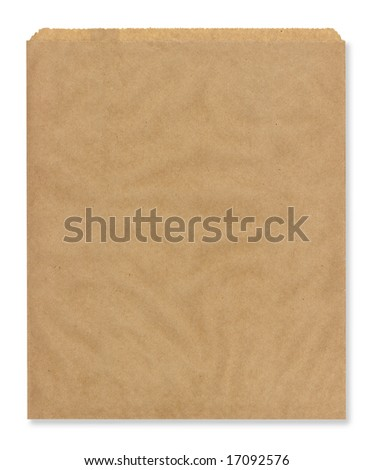 High resolution brown lunch bag, isolated on white. - stock photo