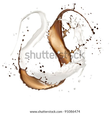 High resolution chocolate and milk splash, isolated on white background